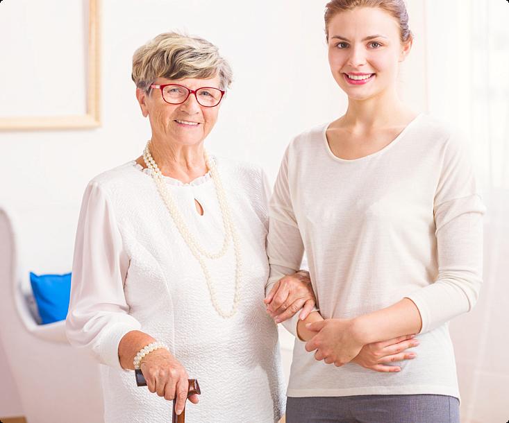 elder with her caregiver